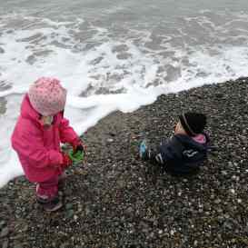 Even young kids are fascinated by the beach
