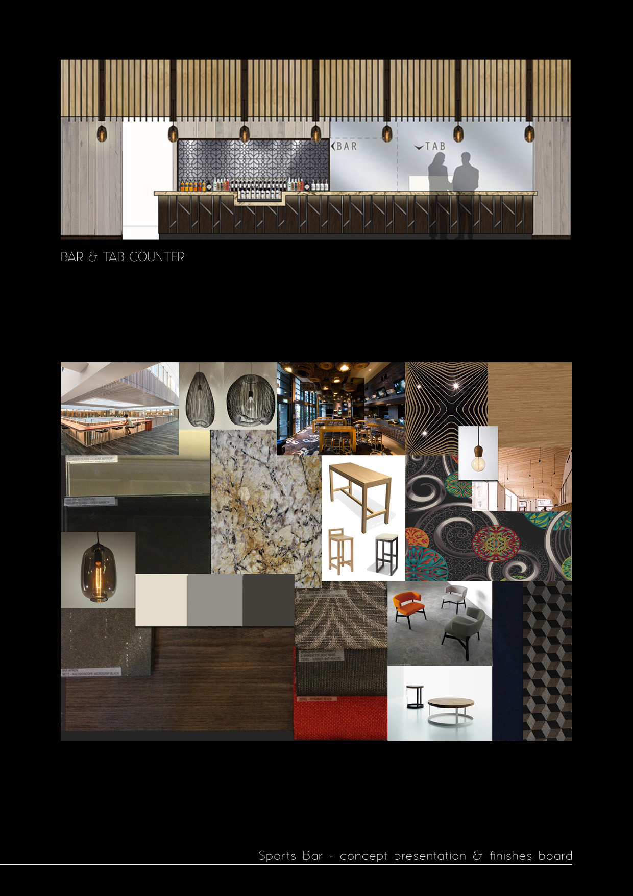 RSL bar pub design concept board