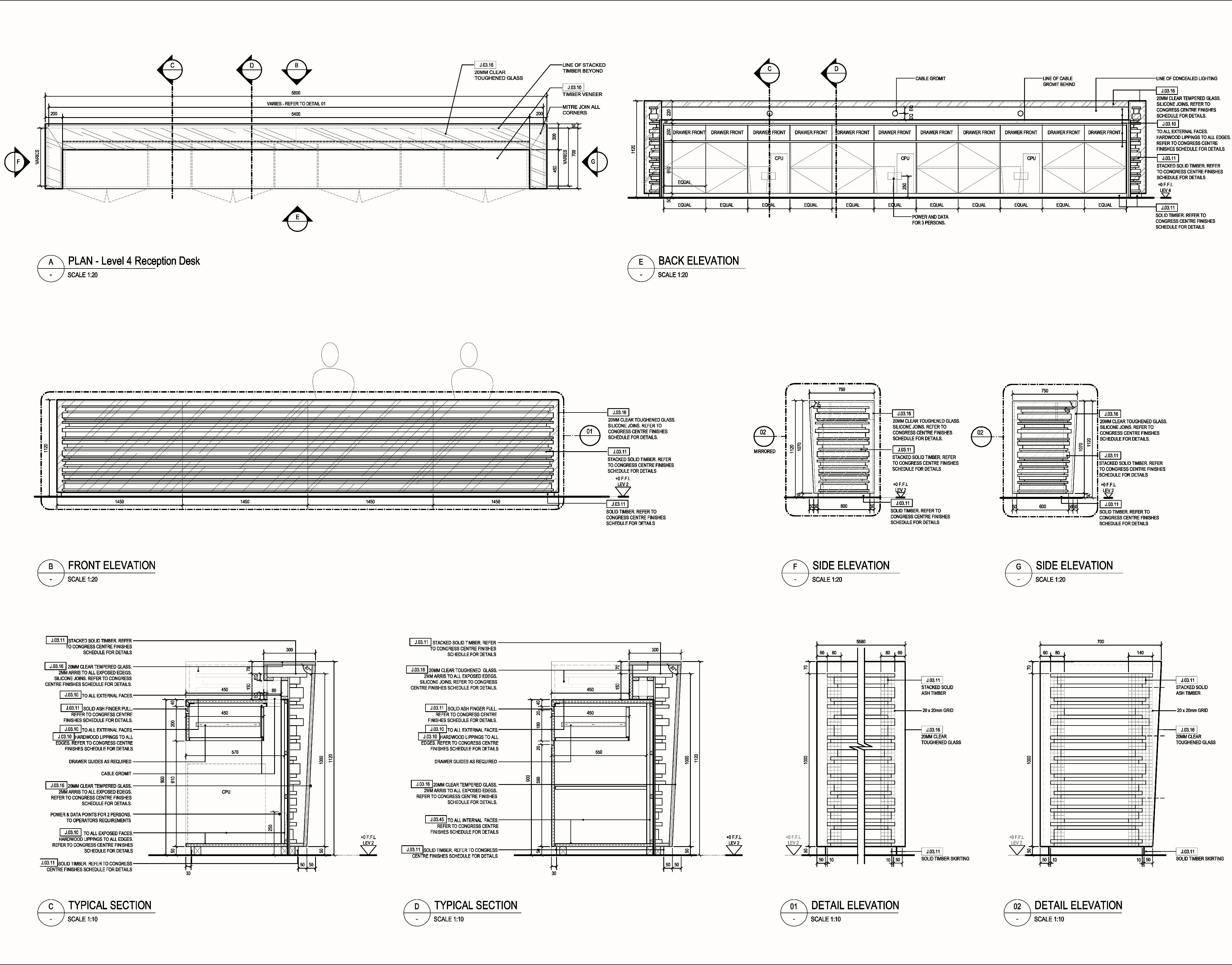 Klara congress counter timber design