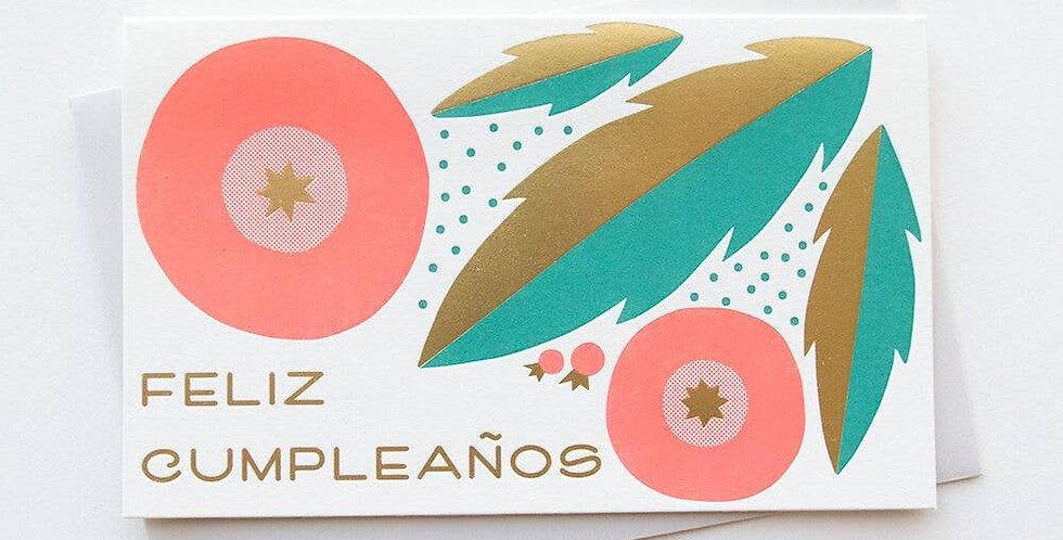 Floral Feliz Cumpleaños – Letterpressed Card