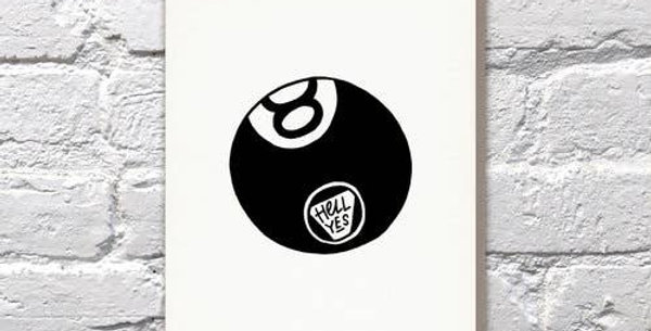 Hell Yes 8 Ball – Letterpressed Card