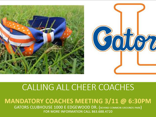 Mandatory Cheer Coaches Meeting MARCH 11th