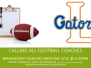 Mandatory Football Coaches Meeting MARCH 11th