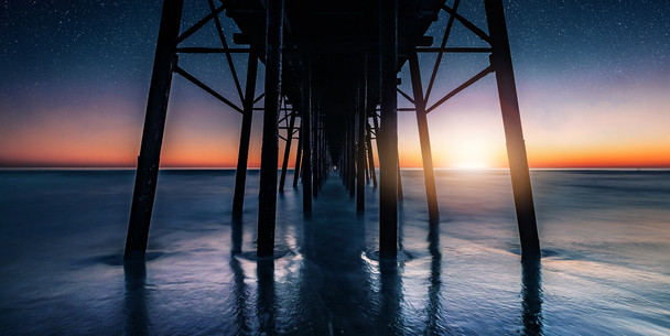 Under Oceanside Pier at Sunset | Long Exposure