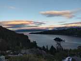 Emerald Cove Lake Tahoe gorgeous sunset mountains trees winter