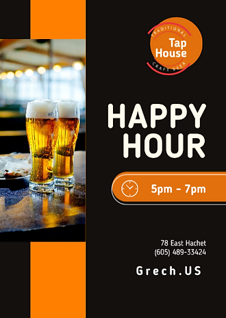 happy hour flyer tap house california