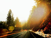 Mountain roads sun flare filtered california lake tahoe