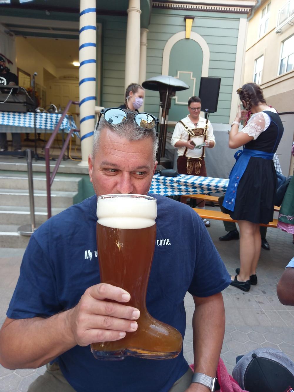 covid oktoberfest safety, wearing masks, drinking beer, san jose, california
