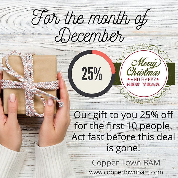 Christmas special December 25% off for first 10 customers act fast hurry