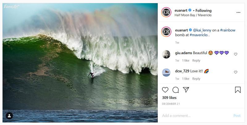 Big Wave surfer kai Lenny catches a big wave with a rainbow at Mavericks. Photo by euanart.