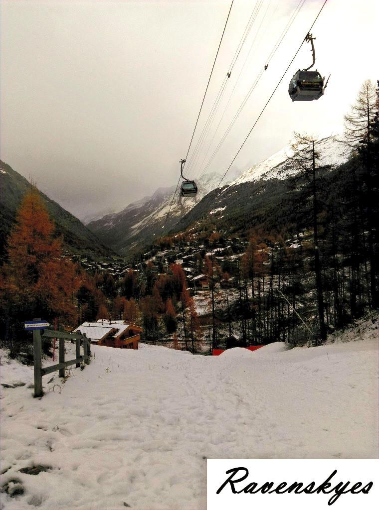 Ski lifts going up the snow covered mountains in Zermatt, Switzerland