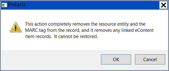 Warning about deleting resource entity.p