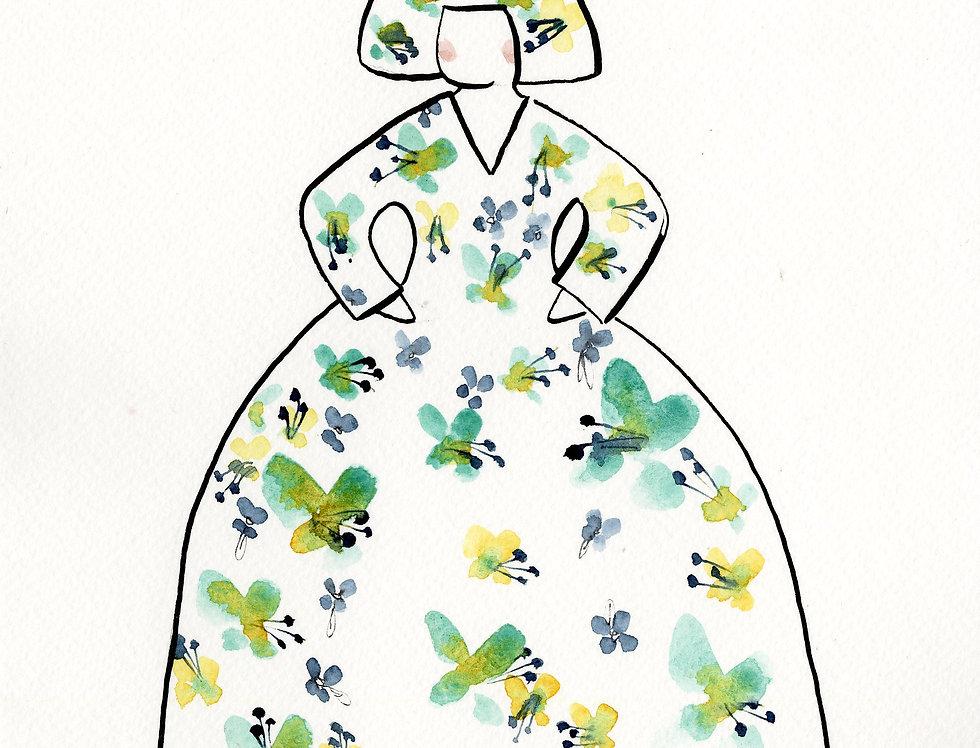 ACUARELA Menina flores