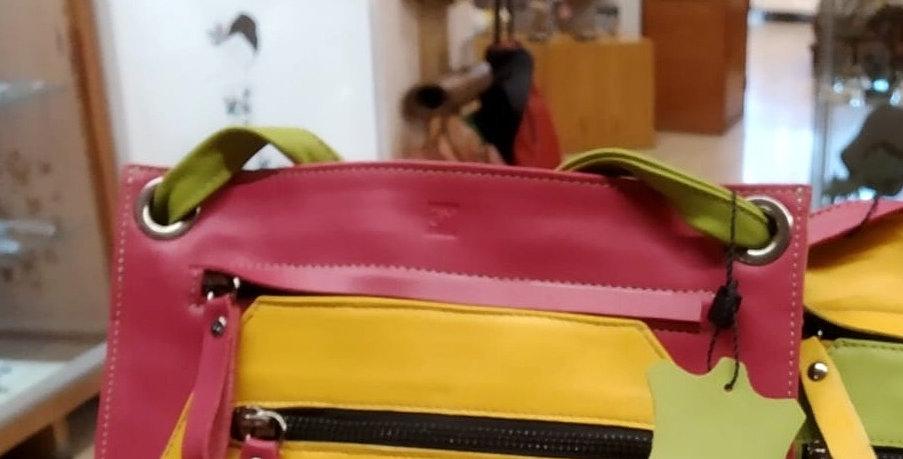 BOLSO DE PIEL amarillo-rosa-verde