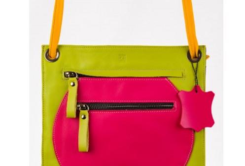 BOLSO DE PIEL rosa-verde-amarillo