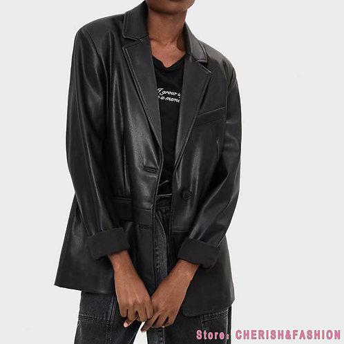 Loose PU Faux Leather Blazers Women Leather Jacket Coat 2020