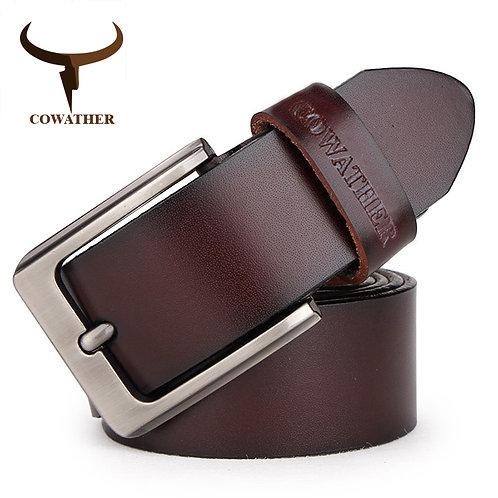 COWATHER Belt Cow Genuine Leather Designer Belts for Men Fashion Vintage Male