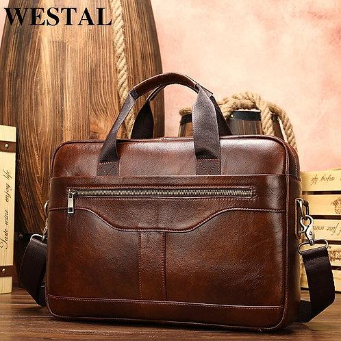WESTAL Men's Briefcase Men's Bag Genuine Leather Laptop Bag Leather Computer