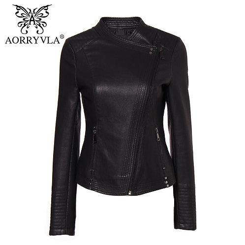 New Fashion Leather Jacket for Women Black Faux Leather Moto Biker Zipper Jacket