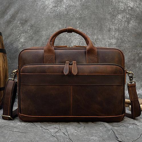 """MAHEU Men Briefcase Genuine Leather Laptop Bag 15.6"""" PC  Bag Cowhide"""
