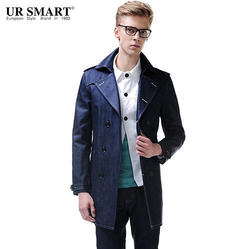 URSMART Brand in the Men's Long Trench Coats Indigo Blue Denim Trench Coat