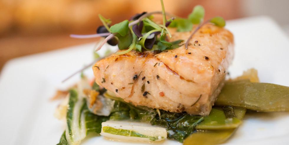 Salmon on Asian Greens