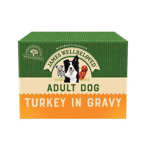James Wellbeloved MEGA PACK Adult Turkey In Gravy Wet Dog Food Pouch 40x150g