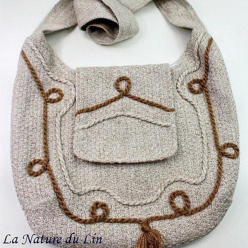 Sac. Tissu Lin et laine. La couleure naturelle.