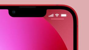 Mesmo tendo um notch menor, iPhone 13 ainda não exibe a porcentagem da bateria na barra de status