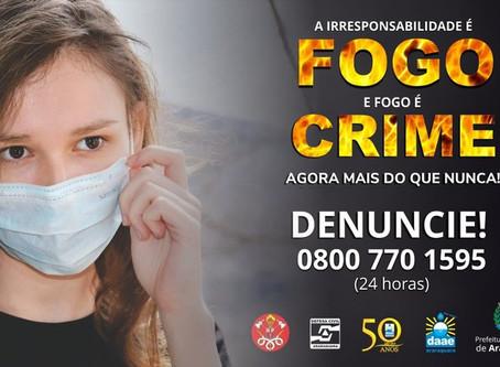 Campanha alerta para os perigos das queimadas em meio à pandemia de Covid-19