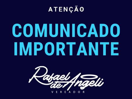 Notas e live do Vereador Rafael de Angeli falam sobre a Comissão Especial de Inquérito da pandemia