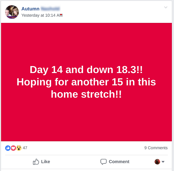 Autumn lost 18 pounds by day 14