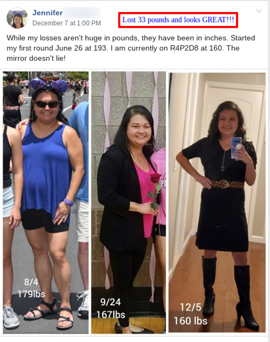 Jennifer lost 33 pounds on the HCG diet