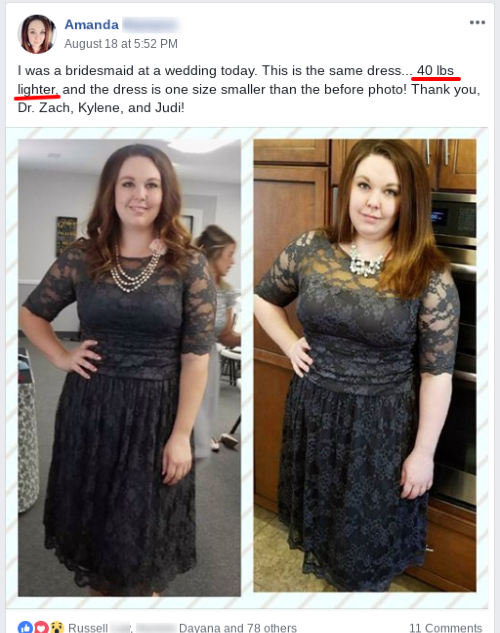 Amanda is 40 lbs lighter
