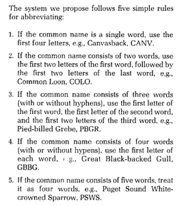 A screen capture of a scientific paper codifying the system for abbreviating bird names to four-letter codes.