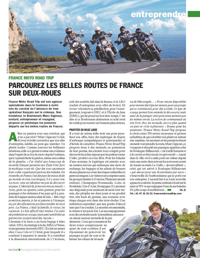 Cette page dans le magazine de notre ville de Boulogne ! C'est notre Graal !