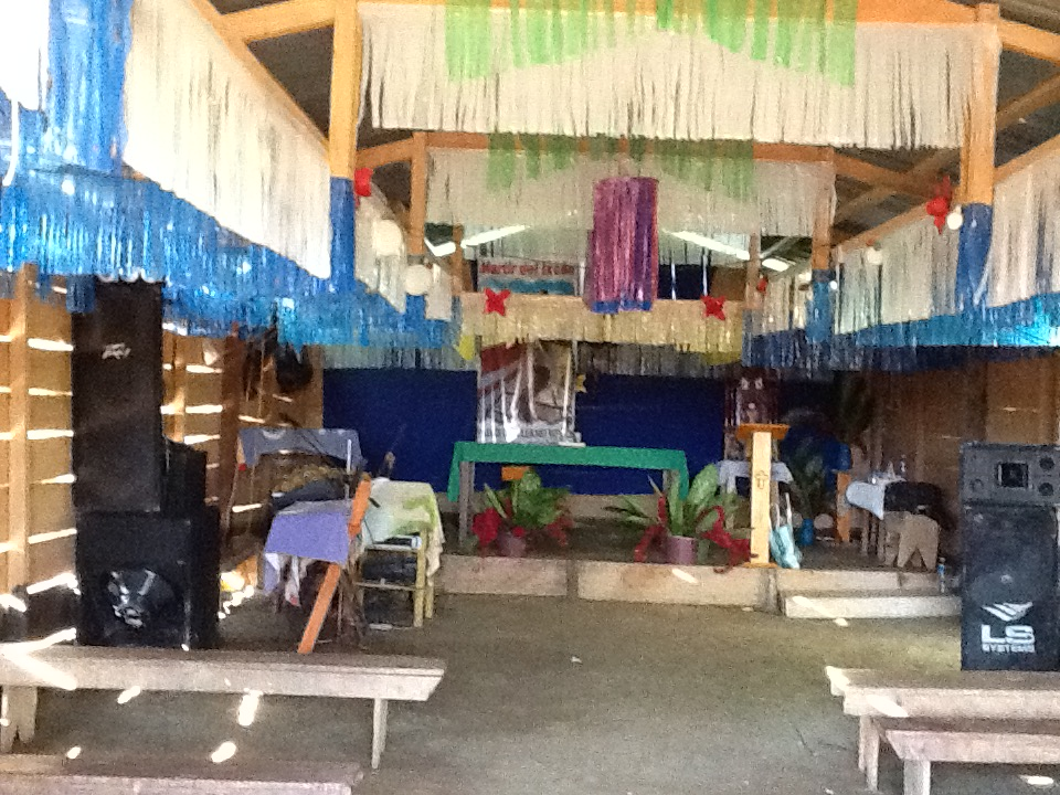 Inside view of temporary church