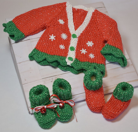 Baby's Ruffled Edge Christmas Sweater with Booties