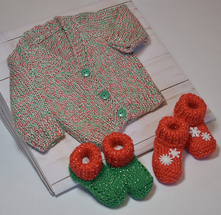 Baby's Christmas Cardigan with Booties