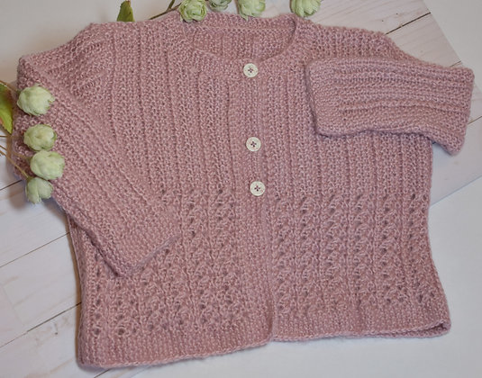 Seed Stitch and Lace Baby Sweater