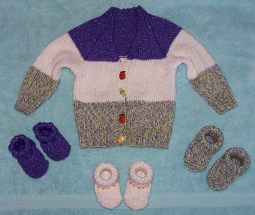 Halloween Baby Cardigan with Ribbing and Booties