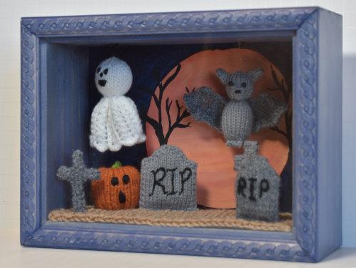 "Halloween Shadowbox - ""Graveyard by Moonlight"""