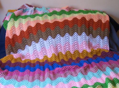 Rainbow Feather Fan Afghan