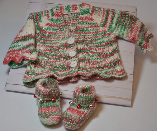 Lacy Christmas Baby Sweater with Booties