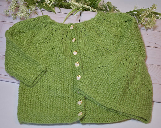 Star Yoke Baby Cardigan with Hat