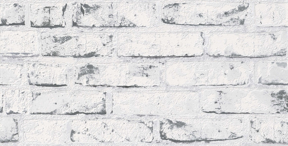 Tapet in stil rustic care imita zidaria din caramida in nuante de alb si negru