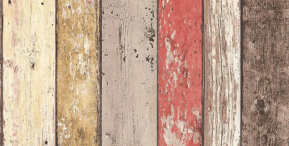 Tapet care imita lambriul din lemn vechi vopsit in nuante de maro galben si rosu