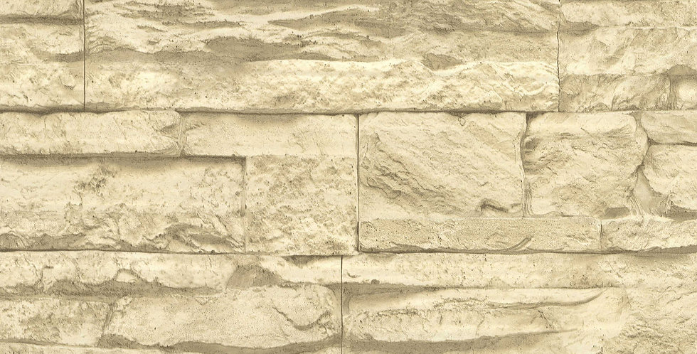 Tapet care imita zidaria din piatra decorativa, in nuante de maro si bej
