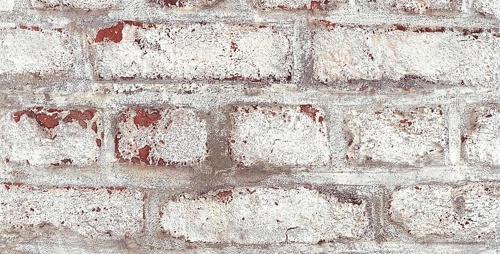 Tapet care imita zidaria din caramida rosiatica vopsita in nuante de alb si gri