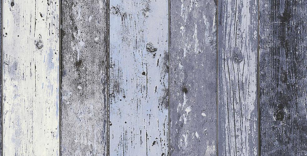 Tapet care imita lemn vechi in nuante de albastru